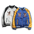 Fashion Eagle Embroidery bomber Jacket Men 2016 Winter blue/white Mens hip hop streetwear baseball Jackets erkek giyim