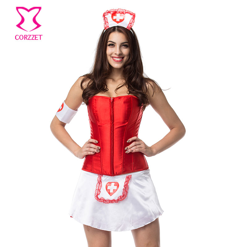 Club Cosplay Game Women Red & White Naughty Sexy Nurse Costume Doctor Costumes Halloween Fancy Dress Outfit Deguisement Adultes