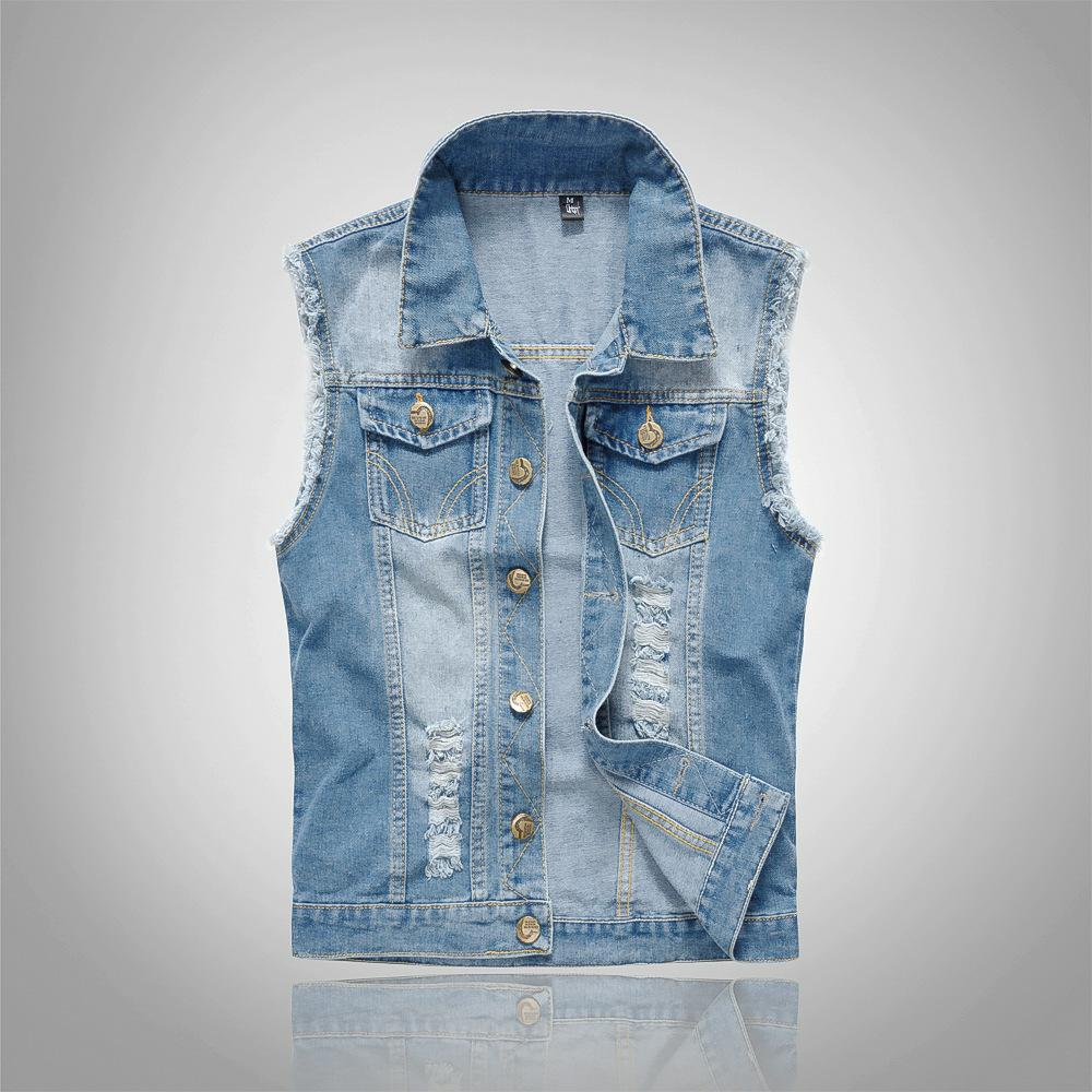 Shujin 2019 Slim Fit Cowboy Male Jacket Vest Ripped Denim Vest Men's Jacket Sleeveless Casual Waistcoat Men's Jean Coat 5xl