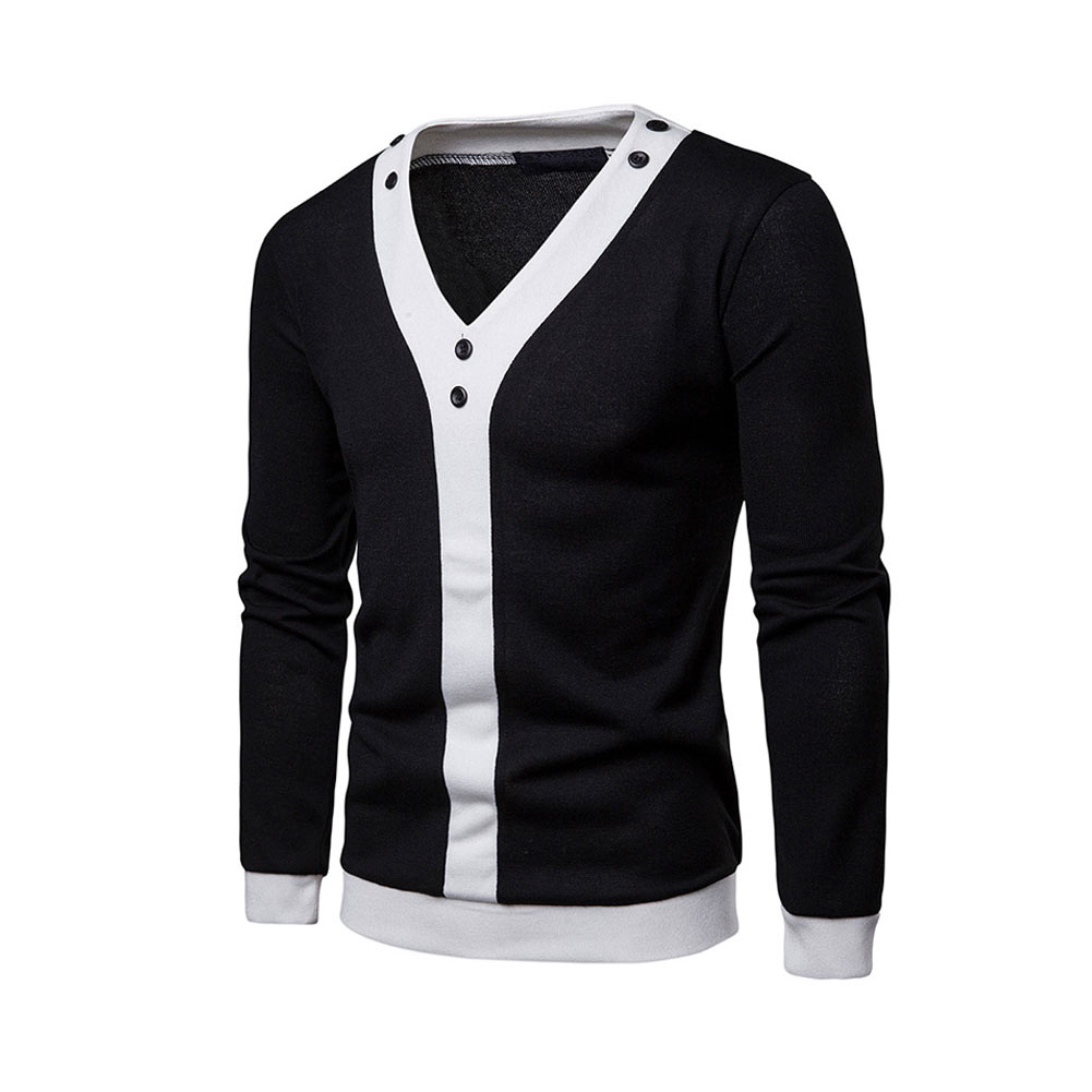 Men Spring Long Sleeves sweater V-Collar Slim Fit Patchwork Pullover Casual Tops FS99