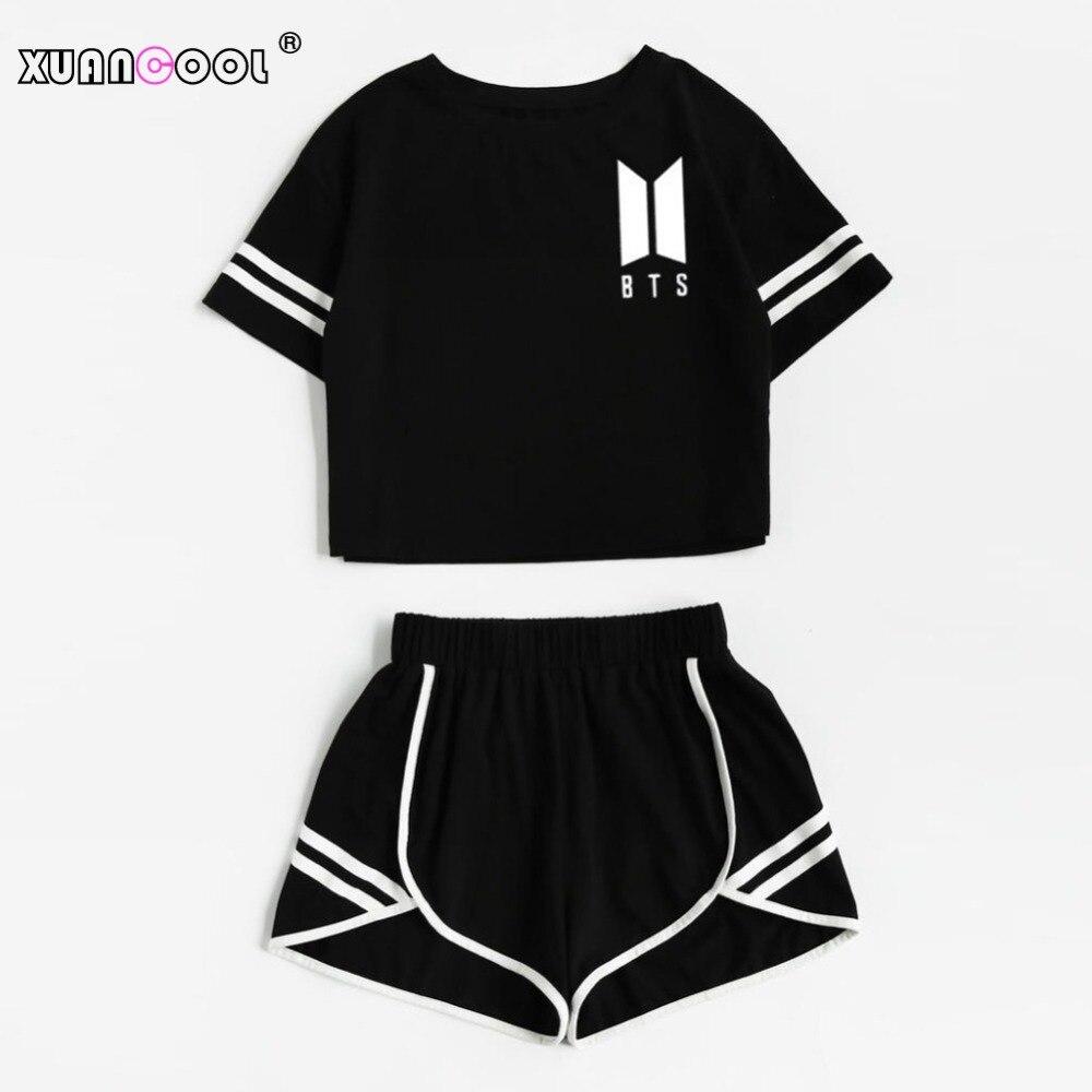 XUANCOOL Frauen Zwei Stück Outfits BTS Liebe Selbst Sommer Stil Schwarz Kurzarm Top und Shorts Set Frauen Sets Kleidung