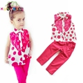 Girls Clothing Set 2017 Summer Girls European Style Clothes Dot Lace Sleeveless Shirt + Pants Toddler Girl Clothes Set D021