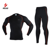 ARSUXEO Men Winter Fleece Thermal Warm Up Compression Base Layer Running Cycling Gym Bodybuilding Fitness Jersey