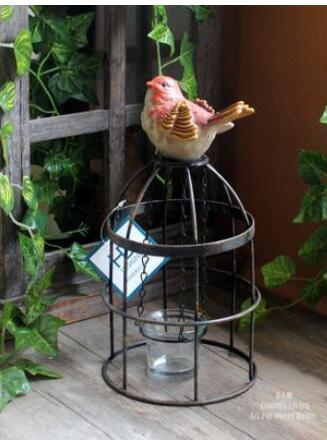 single natural iron art vintage birdcage candlestick American country garden decor candlestick decoration culpture statue