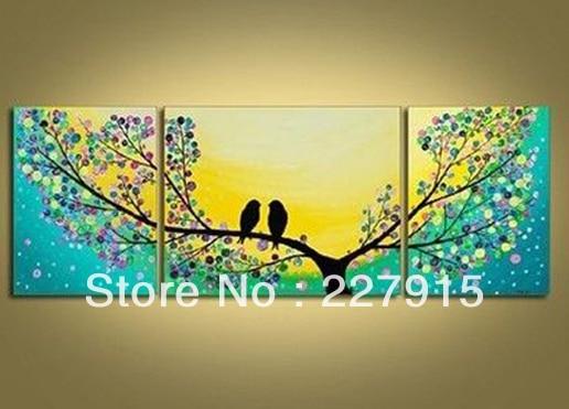 high quality 100%handmade bird tree yellow green Modern abstract ...
