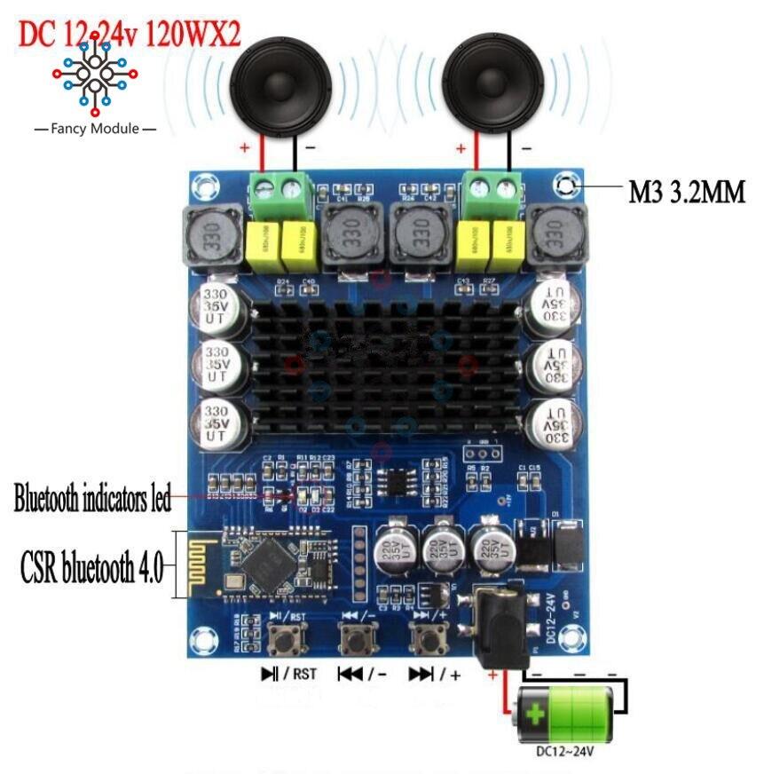 TPA3116D2 Wireless Bluetooth 4.0 Audio Receiver Digital Amplifier Board 120Wx2