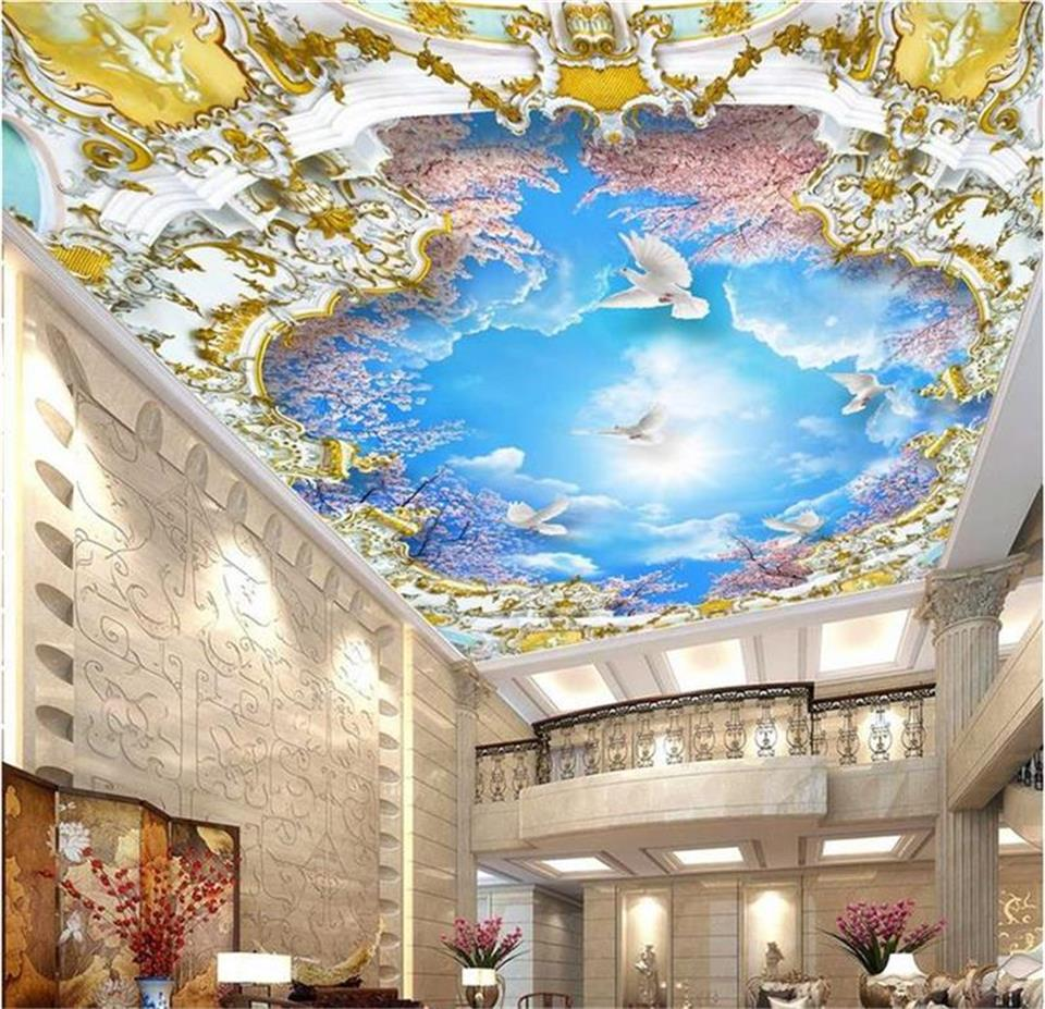 3d wallpaper photo wallpaper ceiling room custom mural blue sky white clouds dove 3d painting background wallpaper for walls 3 d children room blue sky ceiling wallpaper white clouds wallpaper for kids bedroom blue sky and white clouds wallpaper paper roll