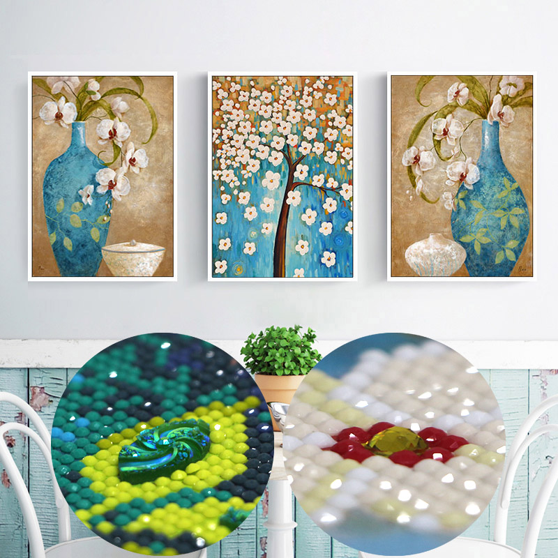special shaped rubik beaded embroidery kit crystal mosaic picture hobby triptych flowers 3d wall art diy 5d diamond paintings