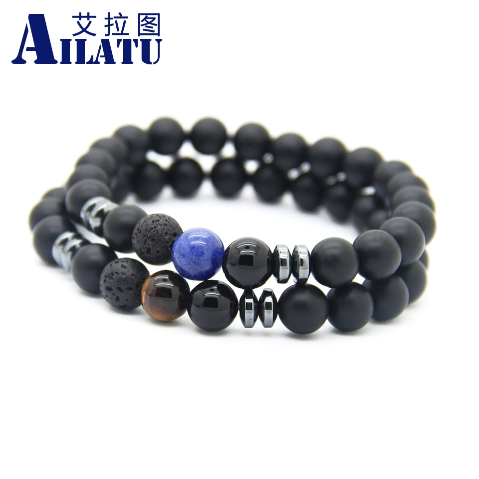 Ailatu Wholesale 10pcs Semi-precious Stone 8mm Matte Onyx, Tiger Eye and Blue Veins Men Lucky Bracelets