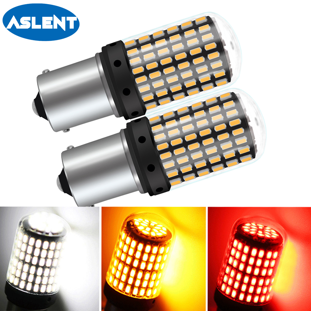 ASLENT 1PCS 1156 BA15S P21W LED <font><b>T20</b></font> 7440 <font><b>W21W</b></font> W21/5W 1157 BAY15D led Bulbs 144smd CanBus BAU15S PY21W lamp For Turn Signal Light image