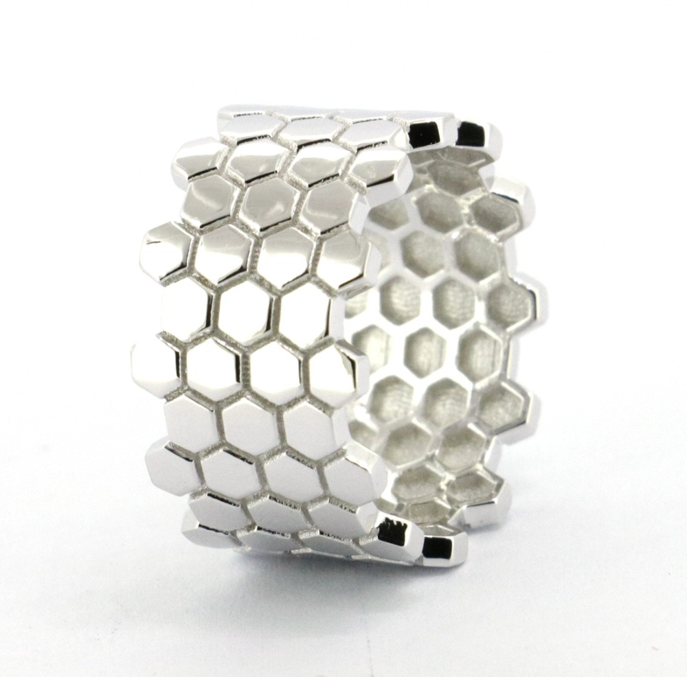 Wellmade Solid 925 Sterling Silver Honeycomb Ring