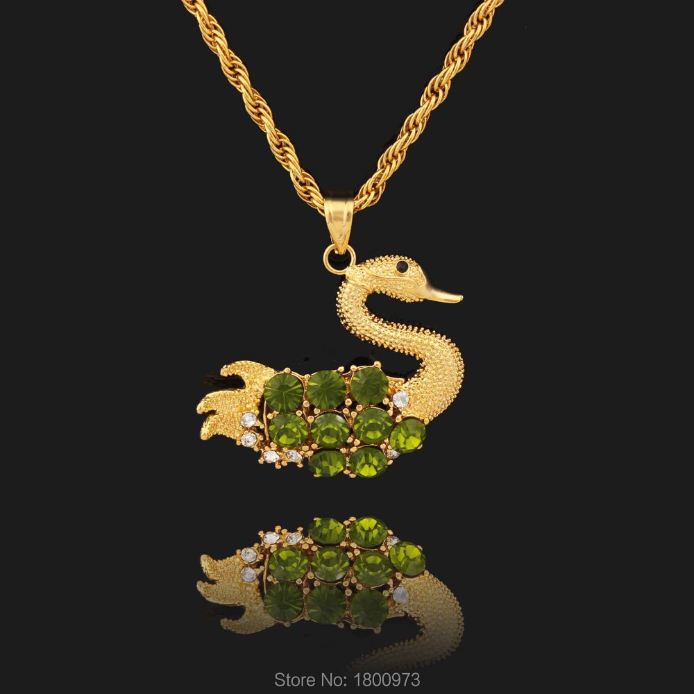 Ethiopian Green Crystal Cute Goose Gold Color Exquisite Zircon Pendants & Necklaces Fashion Jewelry for Men Women Girl Gift