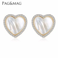 PAG&MAG Brand 2017 Hot Trendy Style 925 Sterling Silver Heart Shell Pearl Stud Earrings For Women Engagement Jewelry Free Box