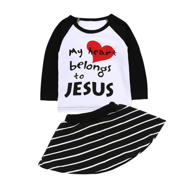 d0be1bc12 2 pc Set Baby Girl Clothes Set Letter Print T shirt Tops + Strip ...