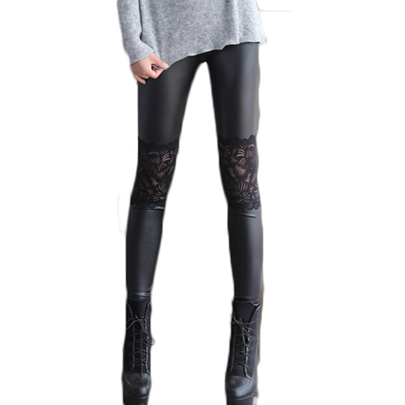 ZYFPGS 2019 Spring Sexy Lace PU Leather Women Leggings Punk Rock Black Legins Fitness Gothic Harajuku Workout Slim MF496532 in Leggings from Women 39 s Clothing