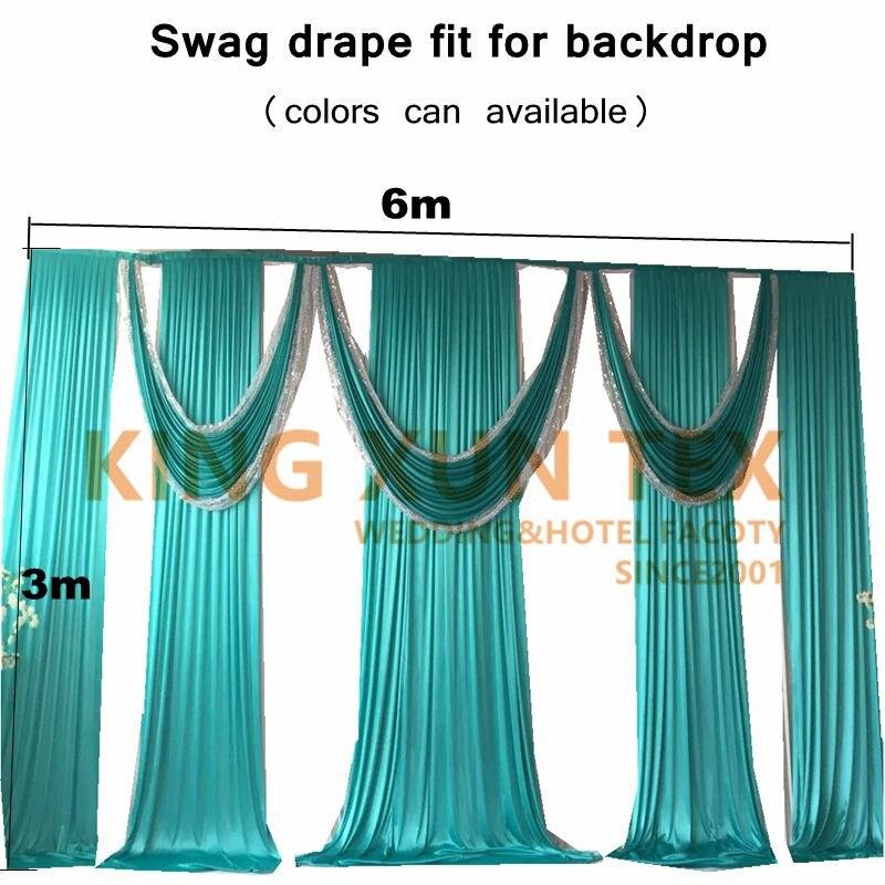 3 M x 6 M glace soie toile de fond drapé Swag cantonnière avec Sequin tissu pour toile de fond rideau décoration de mariage