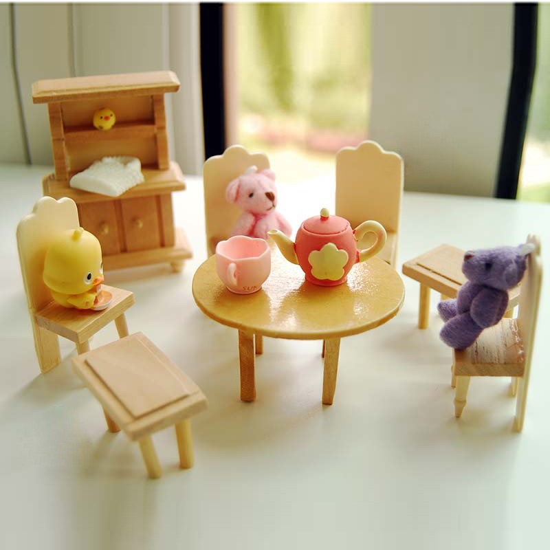 wooden miniature 112 doll furniture kids toys dinning house dollhouse play model building educational building doll furniture