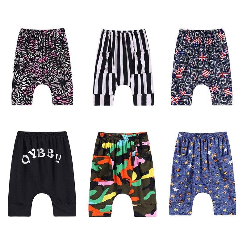 WEIXINBUY kids Baby Boy Harem Pants with pockets cotton loose calf length Trousers Fashion Beach Pattern print boys cloth