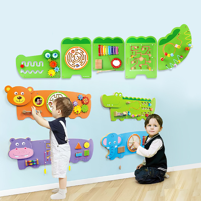 Kindergarten Early Education Educational Metope Toys Enlightenment Wall Surface Game Decoration Wooden Toy Set t3184b educational toy coin slide chip game toy playing toy set