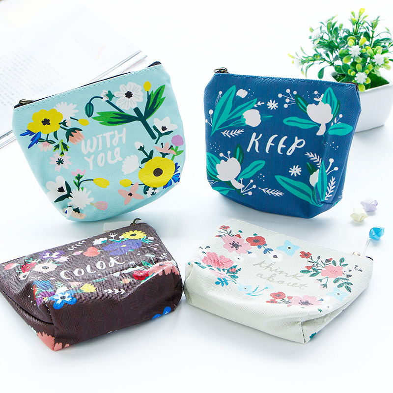 Fashion Style Women Waterproof Canvas Coin Purse Girl's Cartoon Floral card Holder Coin Wallet Lady's Change Makeup Small Bag