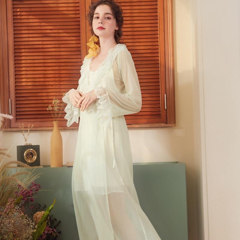 Summer Court Lace Pyjamas Long Sleeves Retro Sexy   Nightgown   Princess   Sleepshirts   V-Neck Night Gown Sleep Wear Women Sleepwear