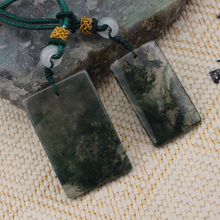 rectangle shape natural moss agate stone pendant gemstone DIY jewelry for woman gift wholesale !