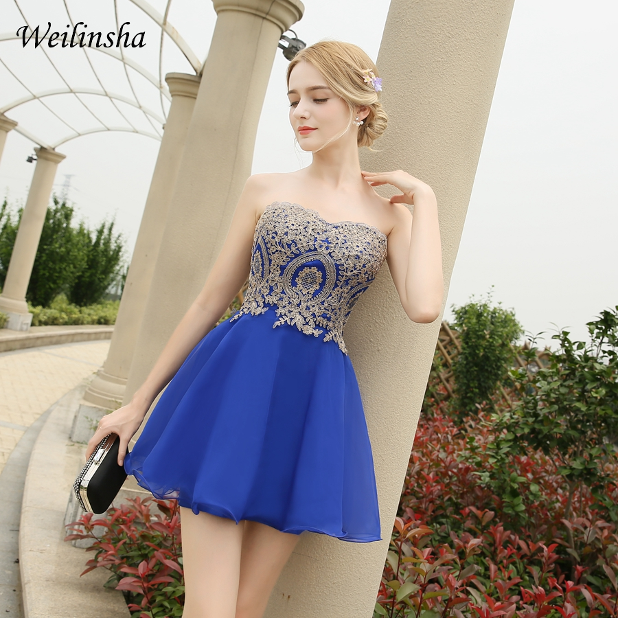 Weilinsha Cute Charming Cocktail Dresses Sweetheart Sleeveless Gold Applique Short Party Prom Dress Homecoming Dress