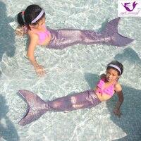 Hot sale 2018 New mermaid Tail costumes Kids Girls Mermaid Tail with monofin Children Swimming Swimwear Cosplay Brithday Gift