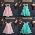 2016 New Arrival Princess Girls Party Dress Sleeveless Chiffon Solid Pleated Summer Sundress 2-8Y