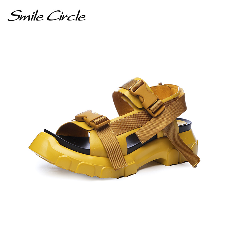 Smile Circle 2018 Summer Style Casual Sandals For Women Shoes Fashion Flat Thick bottom Shoes women Open Toes Sandals slipper mvvjke summer women shoes woman genuine leather flat sandals casual open toe sandals women sandals