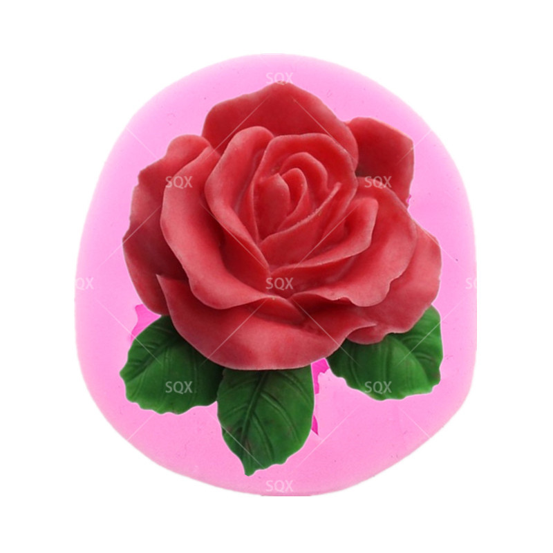 Free Shopping Flower Bloom Rose shape Silicone Fondant Soap Cupcake Jelly Candy Chocolate Decoration Baking Tool Moulds SQ1603