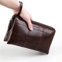 Cobbler Legend Men Clutch Wallets Genuine Leather Long Purses Large Capacity Business Wallet Zipper Phone Travel Bag for Male