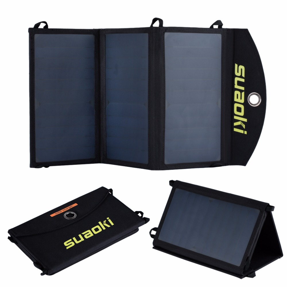 Suaoki 20W Solar Panel Charger High efficiency Portable solar battery Outdoor solar panel Dual USB output