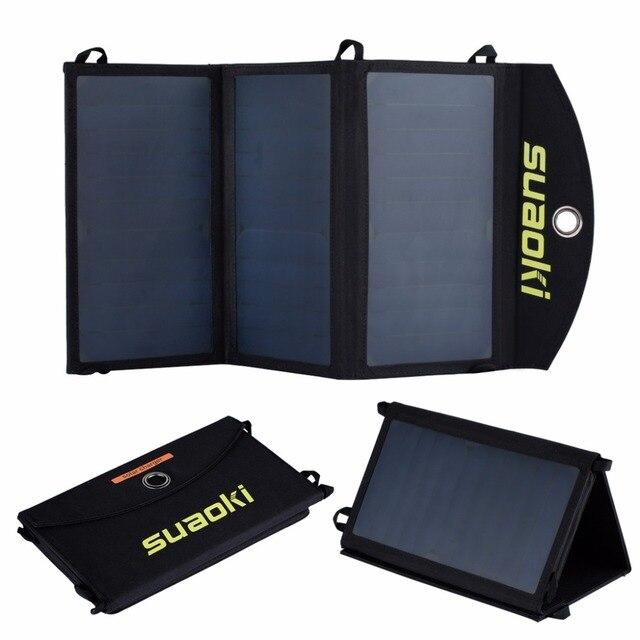 Suaoki 20 ワットソーラーパネル充電器高効率ポータブル太陽電池屋外ソーラーパネルデュアル USB 出力 Easycarry 太陽電池