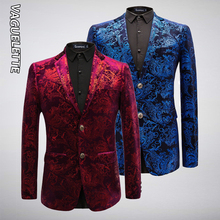 VAGUELETTE Elegant Velvet Blazer Men Paisley Floral Wedding Stage Clothing For Men Blue/Red/Golden Print Dress Jacket Men M-6XL цена