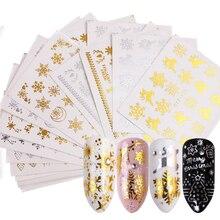 16 stücke Gold Silber Nail art Wasser Aufkleber Set Schneeflocken Weihnachten Designs Decals Für Nagel Dekorationen Sliders Maniküre TRSTZ YA