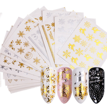 16pcs Gold Silver Nail Art Water Stickers Set Snowflakes Christmas Designs Decals For Nail Decorations Sliders Manicure TRSTZ YA