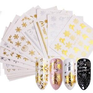 Image 1 - Juego de pegatinas doradas y plateadas para uñas, copos de nieve, diseños navideños, calcomanías para decoración de uñas, deslizantes, TRSTZ YA de manicura, 16 Uds.