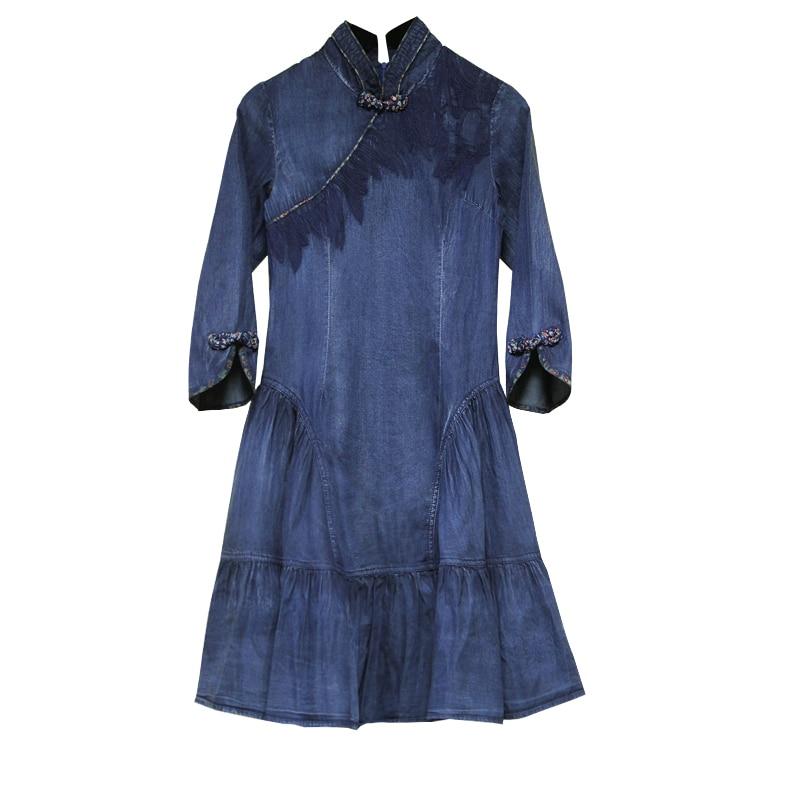 Dress Women 2018 Yuzi.may Boho New Autumn Denim Women Dresses A line Elegant Mandarin Collar Vintage Vestidos A82111 Vestido-in Dresses from Women's Clothing    3