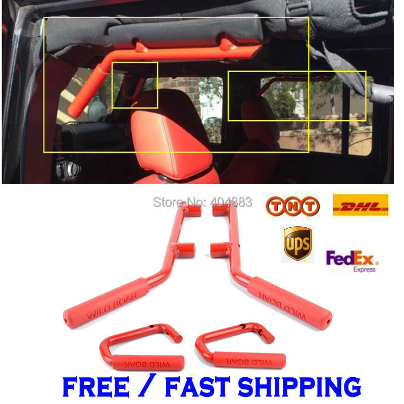 GOOD QUALITY FAST SHIPPING Car Accessories Red Pair Grab Bars 2 4 Door Front Grab Handles