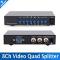 8 Channel Digital Color Procesador Quad Sistema Video Splitter Switcher BNC para el Sistema de Seguridad
