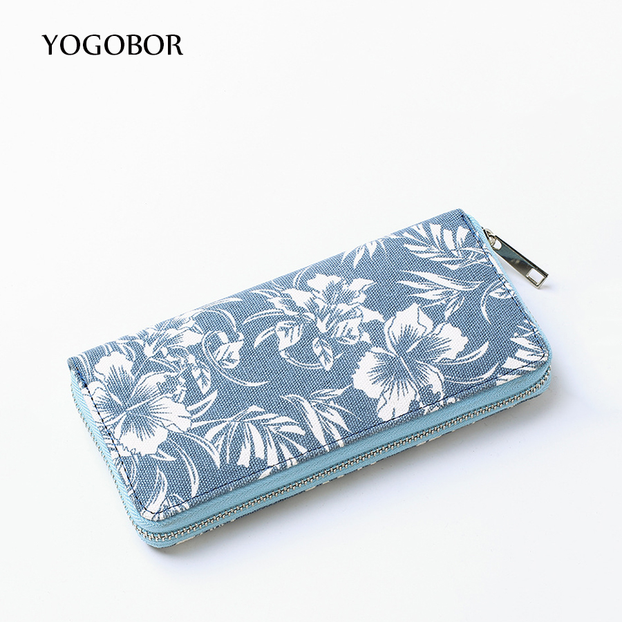 New Brazilian Women Floral Printing Wallet Long Creative Female Card Holder  Casual Zip Ladies Clutch Canvas