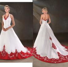 W130 Fashionable Romantic Plus Size Custom Made Embroidery Colorful White Red Wedding Dress 2015 Gowns Vestido De Noiva