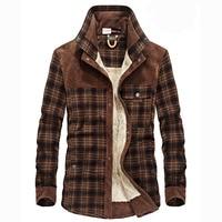 Men's Thick Warm Fleece Inner Lining Check Plaid Shirt Cotton Winter Long Sleeve Shirt