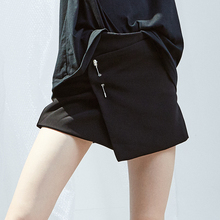 77Fang girls's woman's summer time runway trend top quality chiffon elegant black skirt shorts