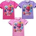 New Desenhos Animados Trolls meninas camisetas meninas tops e t-shirt roupas as crianças usam roupas de verão de algodão crianças shirt curto t para 4-12 Y