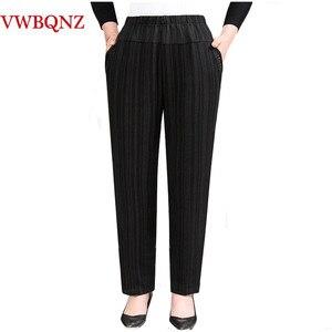 Image 2 - בגיל העמידה סבתא בתוספת קטיפה מכנסיים אופנה מזדמן רופף אלסטי מותניים נשים מכנסיים גודל גדול חם נשי חורף מכנסיים