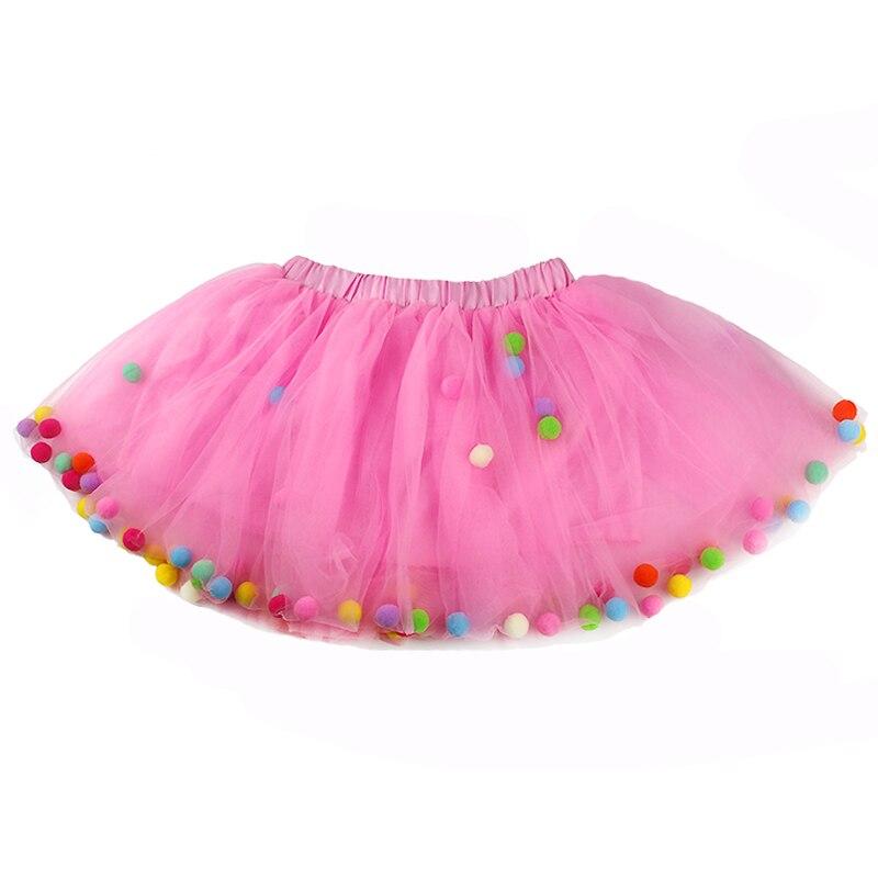 2021 Summer Baby Multilayer Tulle Tutu Skirt Colorful Pom Pom Princess Mini Dress Children Clothing Pettiskirt Girl Clothes 4