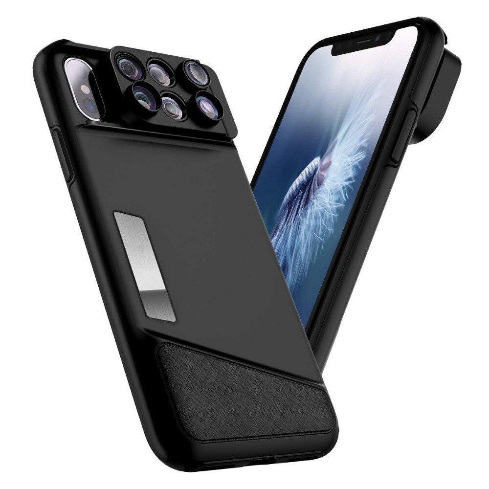 Pour iPhone X etui 8 Plus 7 Plus housse d'objectif HD Fisheye grand Angle Kit d'objectif appareil Photo 3-en-1 Portable facile à changer Pro Photo Love