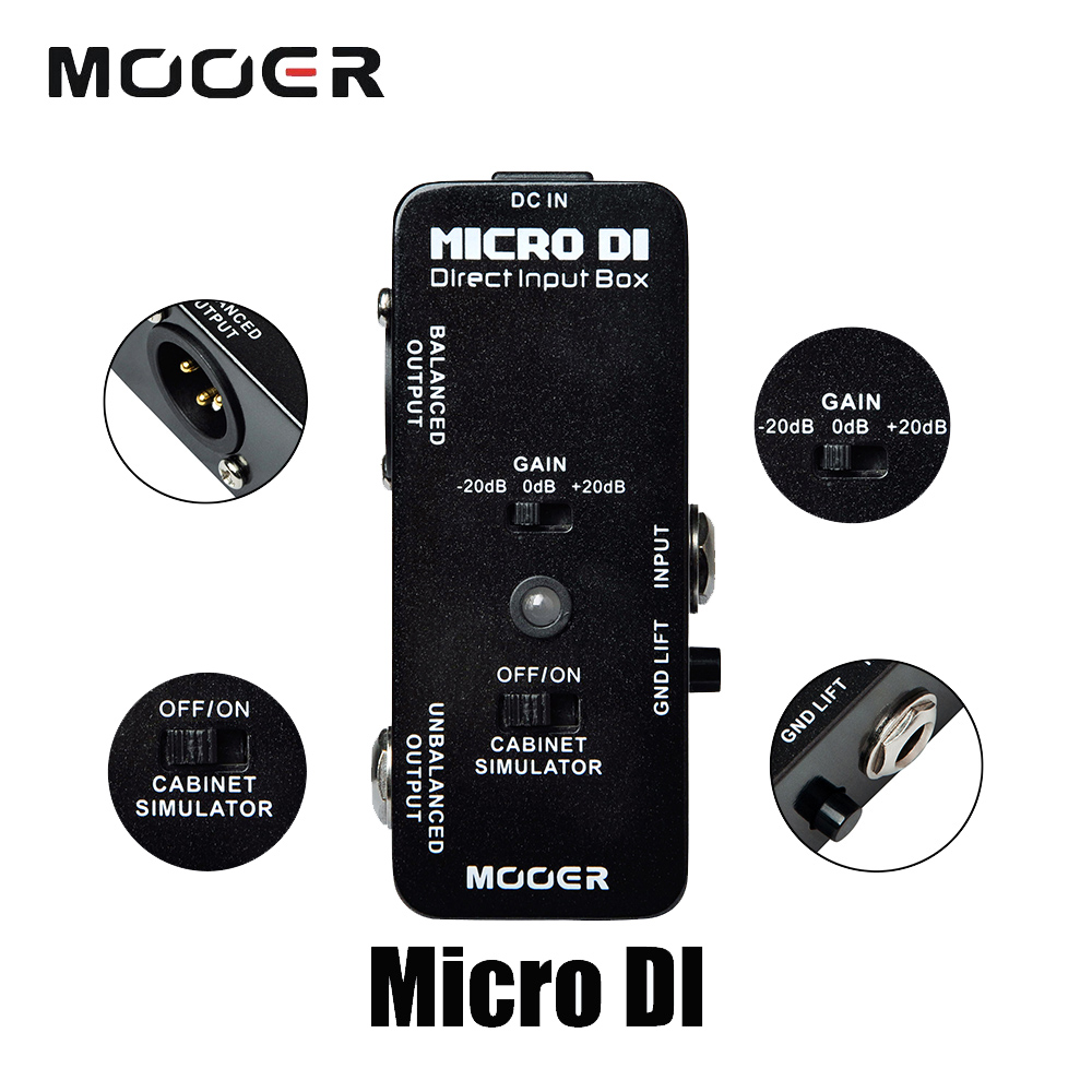 Mooer Ultra Low Distortion Micro DI Direct Input Box Effect Pedal True Bypass Guitarra Accessory new effect pedal mooer solo distortion pedal full metal shell true bypass